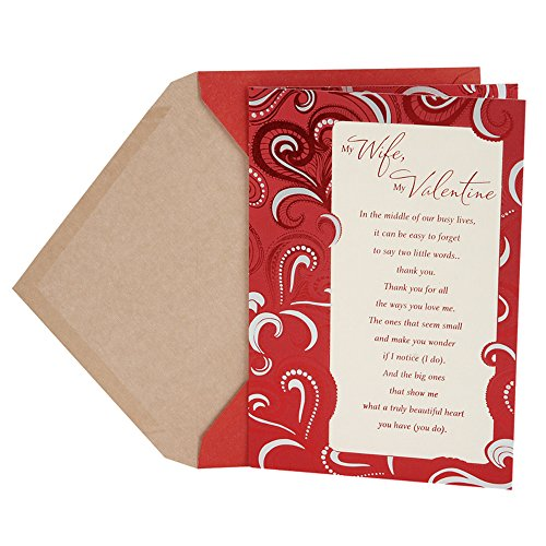 DaySpring Religious Valentine's Day Greeting Card for Wife (Red Paisley Pattern)