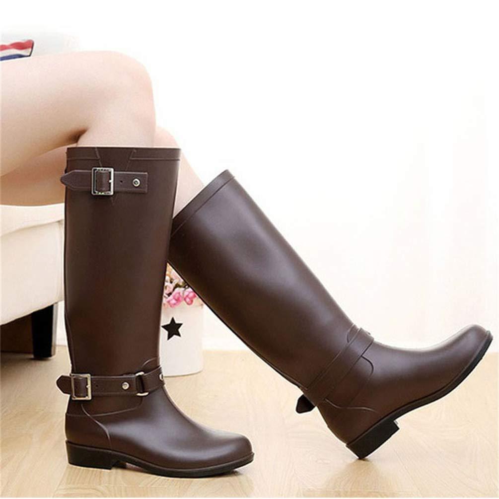 ZHRUI ZHRUI ZHRUI damen Punk Style Reißverschluss Hohe Stiefel Reine Farbe Regen Stiefel Outdoor Gummi Wasser Schuhe für Frauen (Farbe   Braun Größe   6 UK) 55f13f