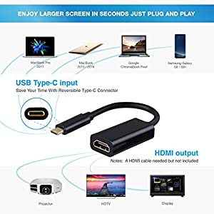 USB-C TO HDMI Adapter, HDMI Converter, AMBOLOVE USB 3.1 Type C to HDMI Adapter 4K 60HZ, Hdmi Cord for TV Macbook Pro/MacBook/Chromebook,Samsung Galaxy Note 8/ S8 / S8 Plus, Imac, Dell and More