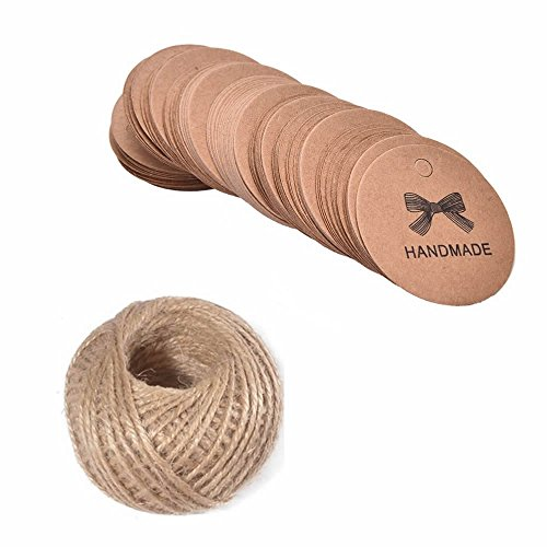 MAXGOODS 200Pcs Handmade Tag Label Round Shaped Embellishments Ornaments,Brown Kraft Paper Hang Tags Craft Decorations with Free 100 Feet Natural Jute Twine (Tags Round Leather Bag)
