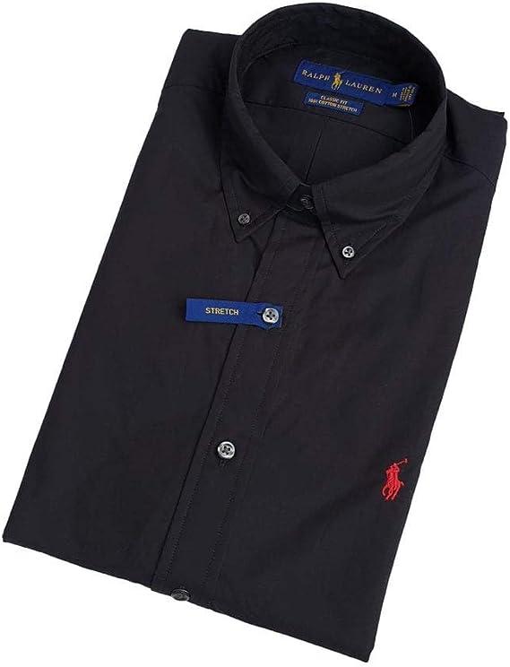 Ralph Lauren - Camisa de popelina elástica para hombre Negro ...