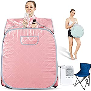 Hicient 2.5L Foldable Steam Sauna Detox Relaxation Weight Loss Sauna Spa for Indoor Home with Chair Pocket Remote Control (Upgrade-Square) (Lightpink)