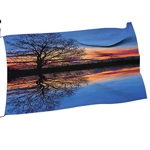 painting-home Garden Flag Arbor Stand aga st Sunset at Magical Night Sky Reflecti Over Lake View Blue Oran Flower Yard Decor28 x 42