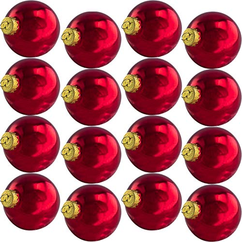 2.6in Glass Xmas Ball Ornaments With Wire Hook Hangers 16 Pack. Small Traditional Matte Burgundy Seamless Bulbs. Great For DIY Gifts, Crafts and Tree Decorating. Flame Resistant Christmas Decor -