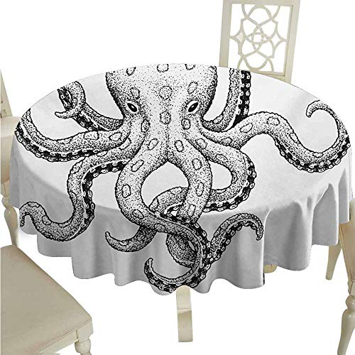 duommhome Octopus Oil-Proof Tablecloth Sketch Style Print of Deadly Blue Ringed Octopus Camouflage Marine Animal Aquatic Easy Care D59 Ecru Black