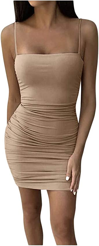 Rosennie damska sukienka seksowna elegancka damska podkreślająca figurę sukienka midi spaghetti pasek letnia sukienka bez plecÓw, do klubu nocnego, plisowana, na czas wolny, na imprezę, bodycon sukien