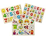 Toddler Puzzles Wooden Peg Puzzles for Toddlers 2 3 4 5 Years Old (Set of 3) - Numbers, Alphabet and Objects Puzzle by Wallxin