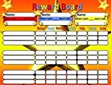 """Magnetic Reward Chart for Motivating Children - with magnets or cord for hanging. Durable Board 12.5 X 16.5"""" (32 X 42 Cms). Star / Responsibility / Behavior / Chore chart with Magnetic dry wipe pen!"""