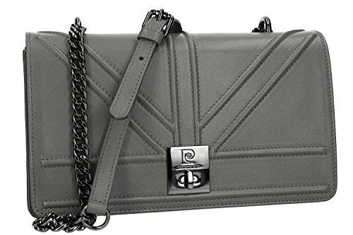 Bolsa mujer de hombro PIERRE CARDIN gris en cuero Made in Italy VN978