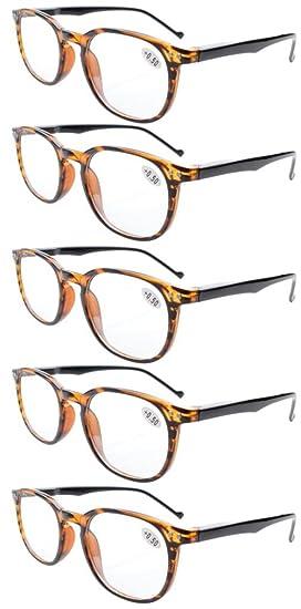 Pack de 5 primavera bisagras estilo lectura gafas sol lectores (Ámbar, +2.50)