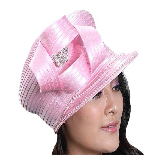 June's Young Fashion Church Hat for Women Satin Hat Ribbon Church (Pink Ribbon Hats)