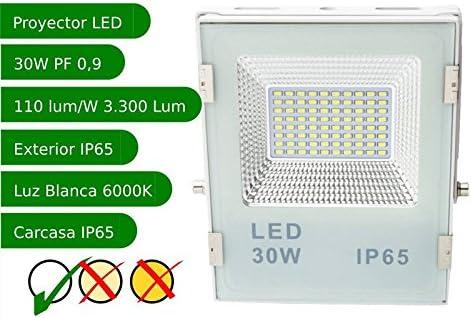 Jandei - Proyector led slim 30W exterior IP65 SMD5730 6000K blanco ...