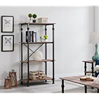 eHomeProducts 4-tier Heavy-Duty Weathered Oak/Metal Frame Industrial Style Bookshelf Bookcase 60 H