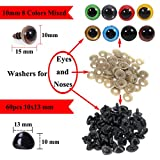 120pcs 10mm Plastic Safety Toy Eyes And 60pcs 10x13mm Noses with Washers for Puppet Bear Doll Animal Stuffed Toys DIY Sewing Craft