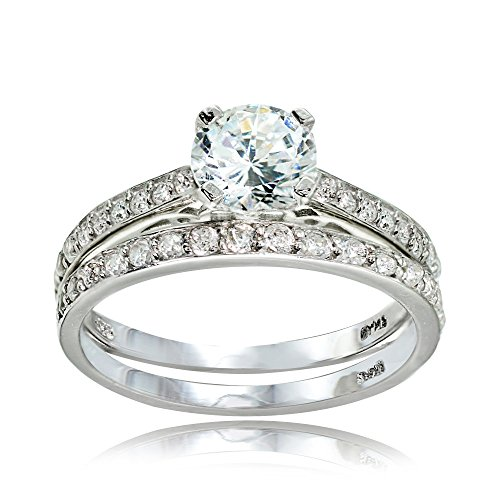 Hoops & Loops Sterling Silver Cubic Zirconia Round-Cut Wedding & Engagement Bridal Ring Set, Size 6