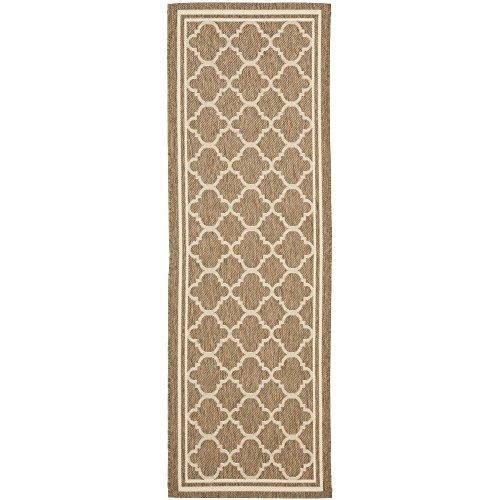 Safavieh Courtyard Collection CY6918-242 Brown and Bone Indoor/ Outdoor Runner (2'3