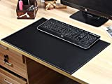 Blencen Gaming Mouse Pad Large, Waterproof Non-Slip Textured Leather Protector Mats Coasters for Office Desk Keyboard PC Computer Laptops, 23.6'' x 15.7'' (Black+Gray)