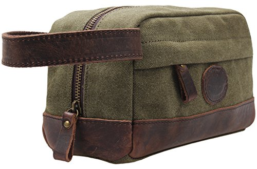 Price comparison product image My style garment MSG Vintage Leather Canvas Travel Toiletry Bag Shaving Dopp Kit #A001, Army Green