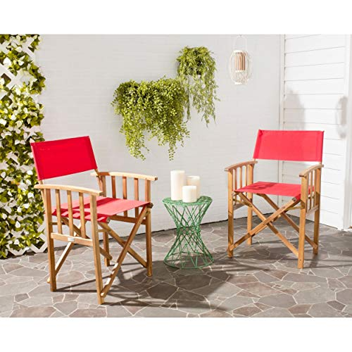 Safavieh Outdoor Living Collection Laguna Director Chairs, Brown/Red, Set of 2 ()