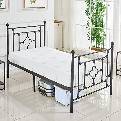 DIKAPA Twin Size Bed Frame with Metal Headboard and Footboard/Mattress Foundation/Box Spring Replacement/Sturdy Heavy Duty Slats,Victorian Vintage Style Platform (Vintage Bedframes)
