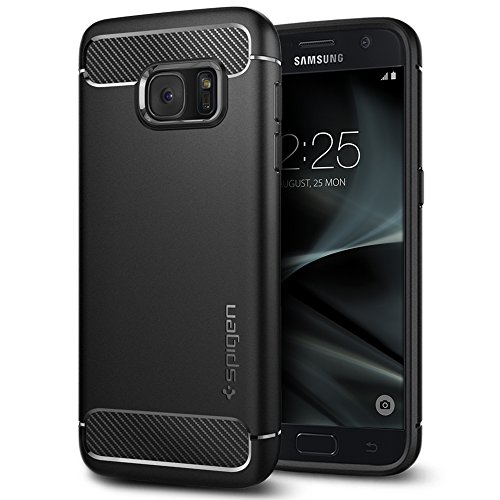 Spigen Rugged Armor Samsung Galaxy S7 Case with Resilient Shock Absorption and Carbon Fiber Design for Samsung Galaxy S7 2016 - Black