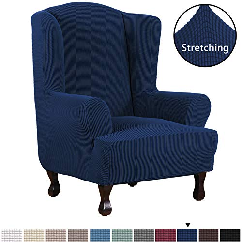 H.VERSAILTEX 1 Piece Super Stretch Stylish Furniture Cover/Wingback Chair Cover Slipcover Spandex Jacquard Checked Pattern, Super Soft Slipcover Machine Washable/Skid Resistance (Wing Chair, Navy) (Cushions Summer Furniture)