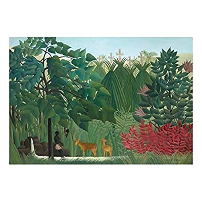 Gorgeous Artistry, The Waterfall by Henri Rousseau French Post Impressionism Naive Primitivism Peel and Stick Large Wall Mural Removable Wallpaper, With a Professional Touch