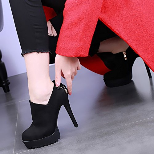 Shoes Heeled Semplici black Impermeabile Europei High Americani Scarpe Papillon Camoscio Spillo E Di A Spesso KHSKX Fondo Tacchi Scarpe 5qHEppc