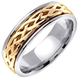 14K Two Tone Gold Celtic Infinity Knot Men's Comfort Fit Wedding Band (6.5mm)