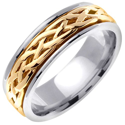 14K Two Tone Gold Celtic Infinity Knot Men's Comfort Fit Wedding Band (6.5mm) Size-9.25c1