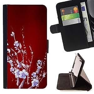 - Red Abstract Floral Infrared Winter - Estilo PU billetera de cuero del soporte del tir???¡¯???3n [solapa de cierre] Cubierta- For Samsung Galaxy Note 4 IV ( Devil Case )