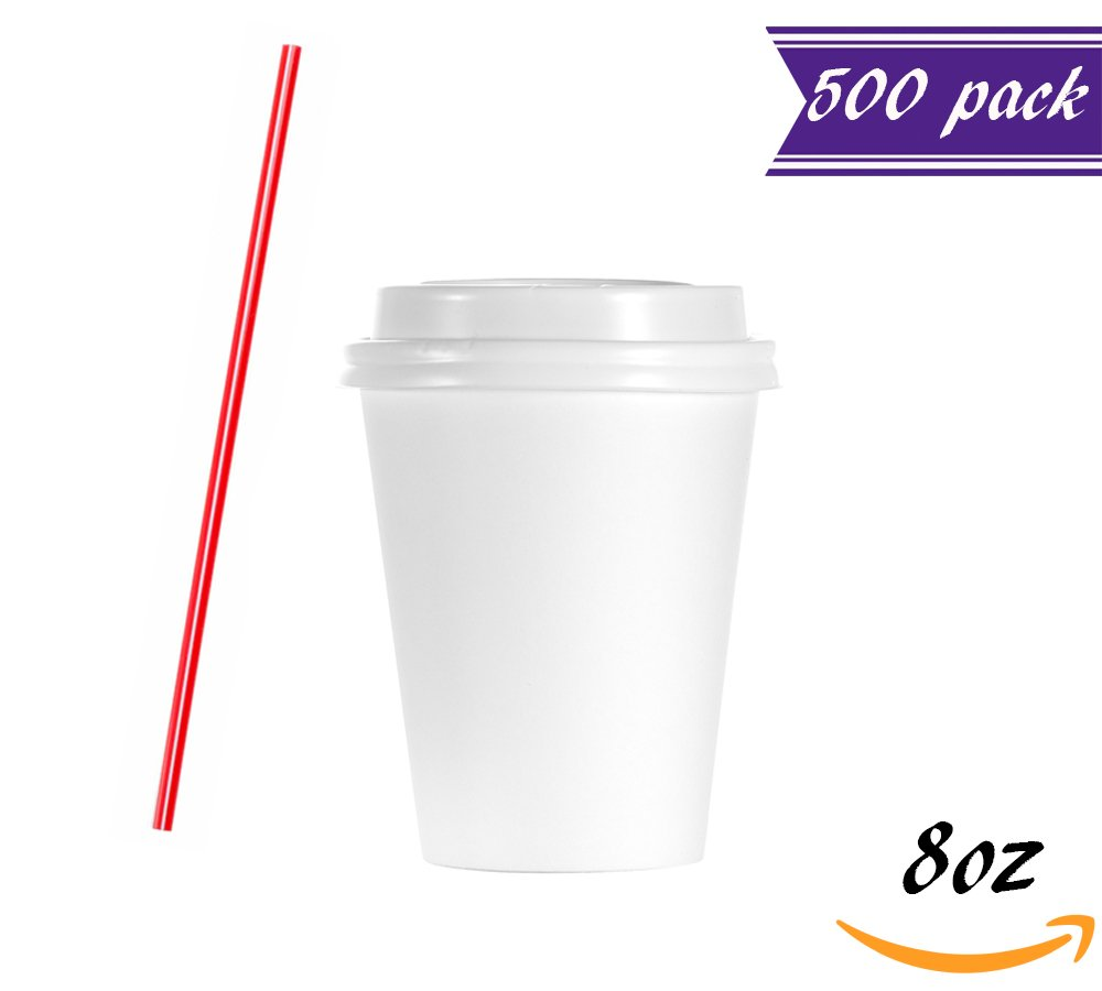 (Set of 500) 8 oz White Paper Hot Cups with Dome Lids BONUS Stirrers, Ideal to go Coffee Cups with Travel Covers for Hot/Cold Coffee / Latte, Cappuccino, Tea & Chocolate