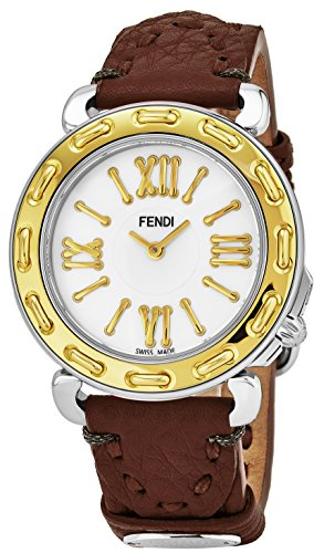 (Fendi Selleria Womens Stainless Steel Fashion Swiss Watch - Mother of Pearl Face Yellow Gold Bezel Brown Leather Strap Vintage Dress Watch for Women with Interchangeable Band F8001345H0-SS18RC2S)