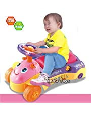 deAO BLC-B Toys 2 in 1 Baby Walker and Push Power Ride on Car with Shape Sorter, Light and Sound Effects (Blue OR Pink)
