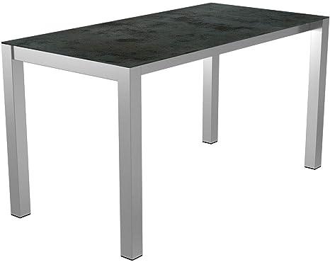 Outliv Ausziehbarer Gartentisch 140 210 X 70 Cm Mit Gestell Aus Edelstahl Und Tischplatte Aus Keramik Glas In Light Grey Amazon De Kuche Haushalt