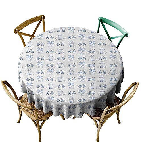 The Pattern Round Table Cloth 50 inch Bicycle,Dutch Ornament Drawings in Blue Windmill Narrow House Bicycle Topiary Tree,White Night Blue Printed Indoor Outdoor Camping Picnic Circle Table Cloth