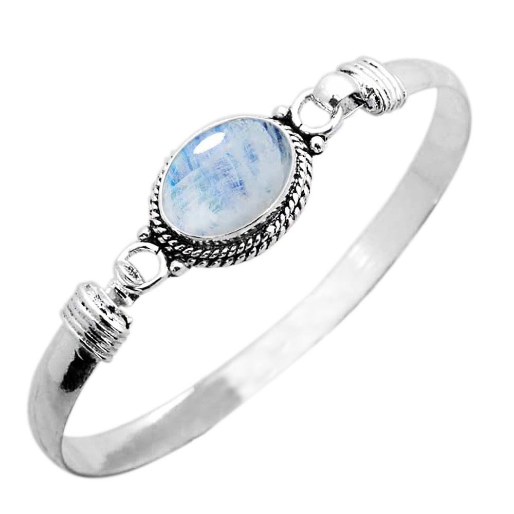 925 Silver Plated 9.10ct, Genuine Rainbow Moonstone Bangle Made By Sterling Silver Jewelry