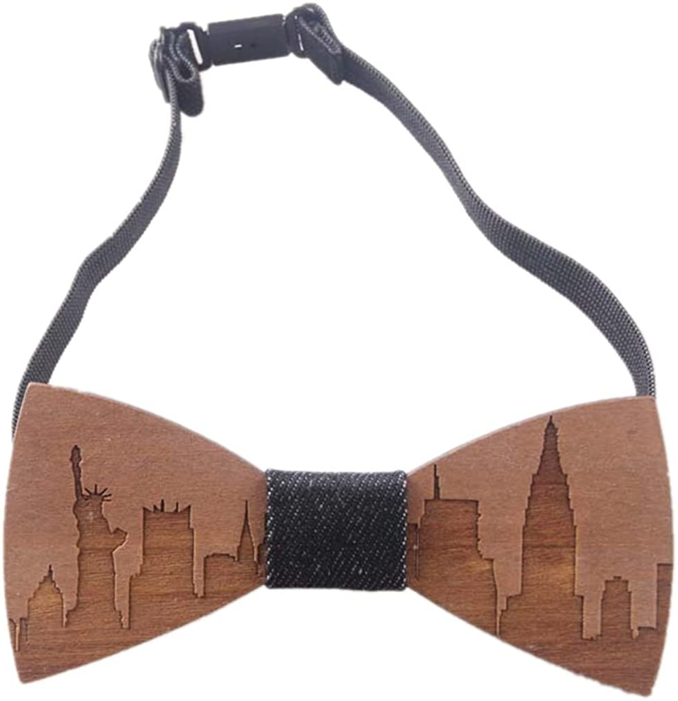 Original Wood Color Bow Tie AINOW Mens Wooden Bowtie