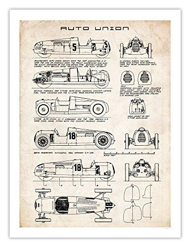 Auto Union - Auto Union Race Car Poster Art Handmade Giclée Gallery Print Parchment Type A C D 18x24 Inches Unframed