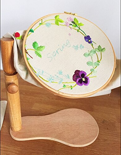 Sit-On Round Embroidery Lap Frame Dia28cm Height Adjustable Solid Wood Cross Stitch Rack Wooden Stand Desk Standing embroidery Frame Chinese Embroidery frame Kit Dia28cm