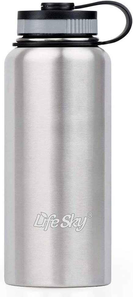32oz libre de BPA /doble pared aislado al vac/ío boca ancha Lifesky deportes botella de agua de acero inoxidable/ Silver
