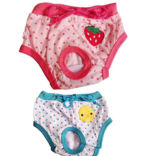 DAXIAO 2 PCS Reusable Washable Dog Diaper Durable Doggie Diapers pants Sanitary Pants Underwear Panty For Pet Dog Puppy Teddy (small) ()