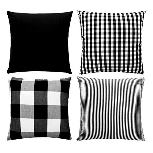 (JOJUSIS Farmhouse Black and White Buffalo Check Plaid Throw Pillow Covers Black Stripe Lattice Cotton Linen Set Cushion Cases for Sofa Bedroom Car Couch 18 x 18 Inch )