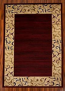 3u0027 X 5u0027 Burgundy Area Rug, Beige, Artemis Collection, High Quality, Soft U0026  Plush Rug