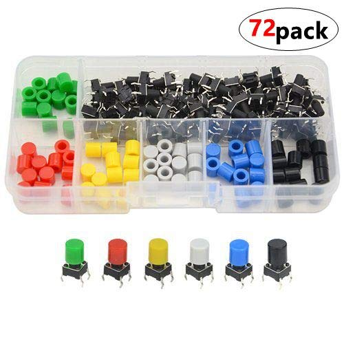6/×6/×8mm Tact Tactile Push Button Switch with Button Caps of 5 Color for Breadboard Arduino(Pack of 50)