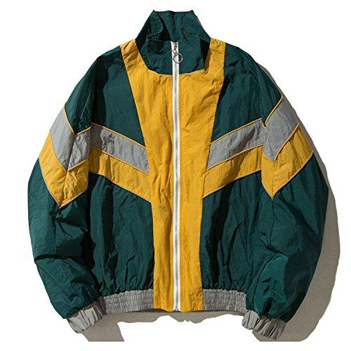 Mens Vintage Track Jacket - Coac3 Men Vintage Multicolor Color Block Patchwork Windbreaker Jackets Hip Hop Streetwear Zip Up Track Casual Jackets Green L