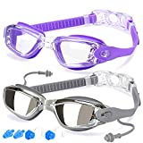 Swim Goggles, Pack of 2, Swimming Goggles Adult Men Women Youth Kids Child, Triathlon Equipment Mirrored & Clear Anti-Fog, Waterproof, UV 400 Protection Lenses