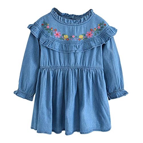 Long Smocking 80s Dress for Girls School Girl Skirts Mermaid Twirl Dresses 3t up Clothes Newborn 0-3 Months Baby 7t Girl Skirt Set(Blue,120]()