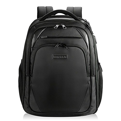 KROSER Laptop Backpack Water-Repellent Computer Backpack Fits up to 15.6 Inch Laptop with USB Charging Port Laptop Bag For School/Travel/Business/Women/Men-Black