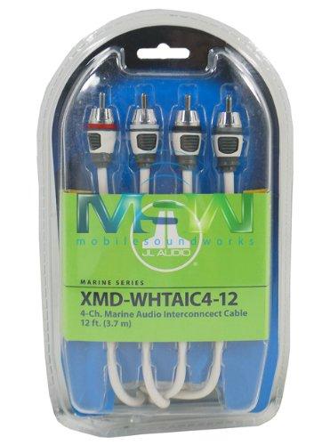 JL Audio XMD-WHTAIC4-12 12 ft (3.66 m) 4-Channel Marine RCA Audio Interconnect (4 Audio Interconnect Cable)